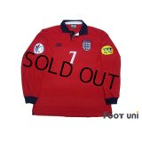 England Euro 2000 Away Long Sleeve Shirt #7 Beckham UEFA Euro 2000 Patch Fair Play Patch