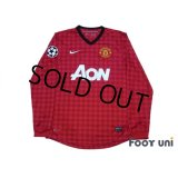 Manchester United 2012-2013 Home Long Sleeve Shirt #20 van Persie Champions League Patch/Badge