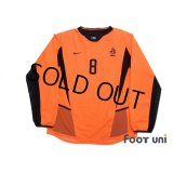 Netherlands 2002 Home Authentic Long Sleeve Shirt #8 Davids