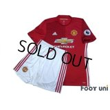 Manchester United 2016-2017 Home Authentic Shirt and Shorts Set #9 Ibrahimovic Premier League Patch/Badge