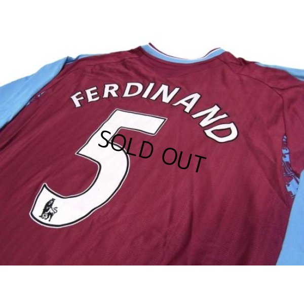 Photo3: West Ham Utd 2007-2008 Home Long Sleeve Shirt #5 Ferdinand