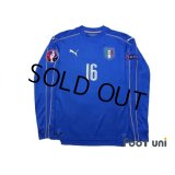 Italy 2016 Home Long Sleeve Shirt #16 De Rossi UEFA Euro 2016 Patch/Badge Respect Patch/Badge w/tags