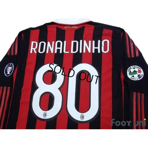 Photo4: AC Milan 2009-2010 Home Long Sleeve Shirt #80 Ronaldinho