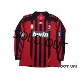 AC Milan 2007-2008 Home Match Issue Long Sleeve Shirt #3 Maldini