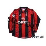 AC Milan 1998-1999 Home Long Sleeve Shirt #3 Maldini Lega Calcio Patch/Badge