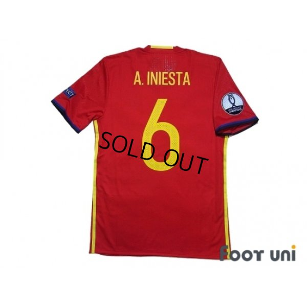 Photo2: Spain 2016 Home Authentic Shirt #6 A.Iniesta UEFA Euro 2012 Champions Patch/Badge Respect Patch/Badge w/tags