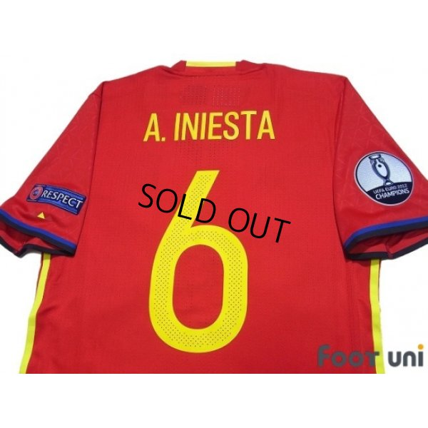 Photo4: Spain 2016 Home Authentic Shirt #6 A.Iniesta UEFA Euro 2012 Champions Patch/Badge Respect Patch/Badge w/tags