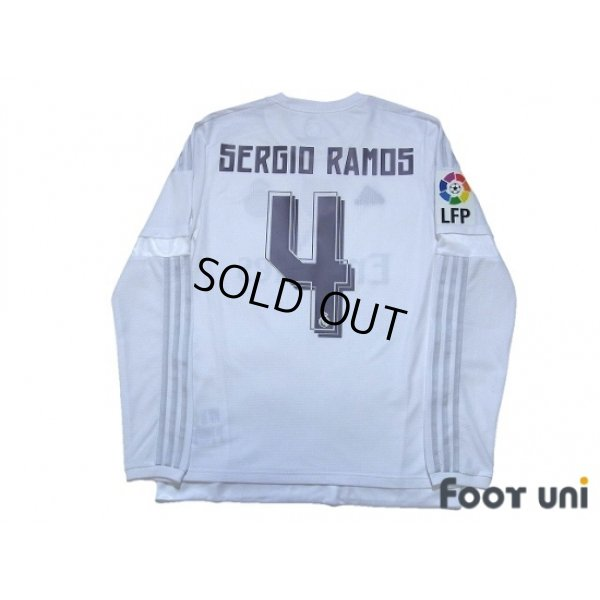 Photo2: Real Madrid 2015-2016 Home Long Sleeve Shirt #4 Sergio Ramos LFP Patch/Badge