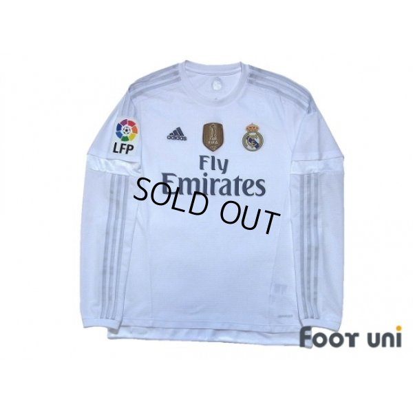 Photo1: Real Madrid 2015-2016 Home Long Sleeve Shirt #4 Sergio Ramos LFP Patch/Badge