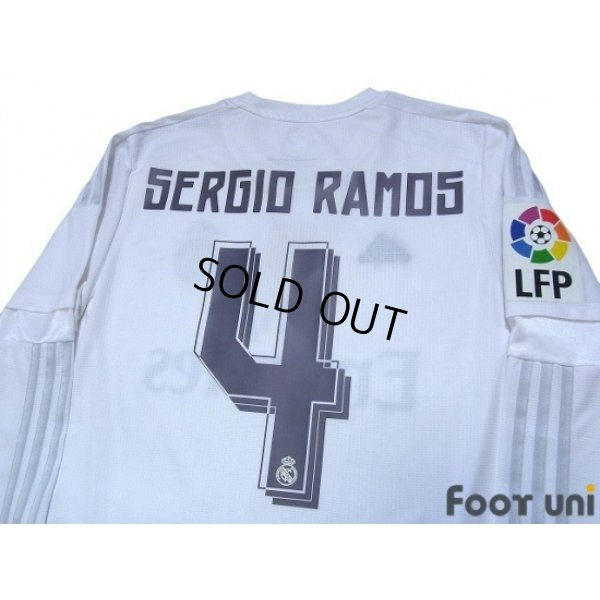 Photo4: Real Madrid 2015-2016 Home Long Sleeve Shirt #4 Sergio Ramos LFP Patch/Badge