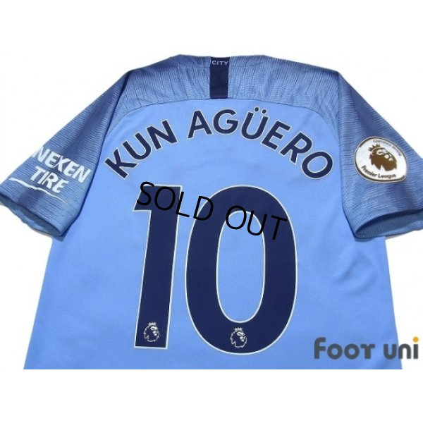 Photo4: Manchester City 2018-2019 Home Shirt #10 Kun Aguero Premier League Patch/Badge
