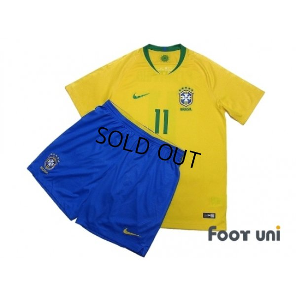 Photo1: Brazil 2018 Home Shirts and shorts Set #11 Philippe Coutinho