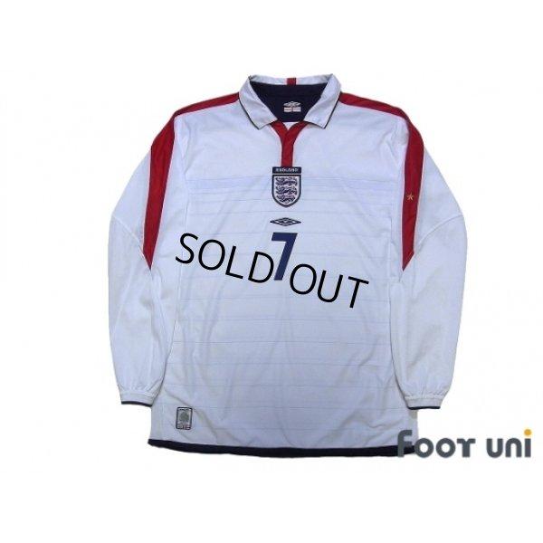 Photo1: England Euro 2004 Home Long Sleeve Shirt #7 Beckham