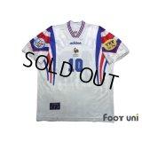 France Euro 1996 Away Shirt #10 Zidane UEFA Euro 1996 Patch/Badge UEFA Fair Play Patch/Badge