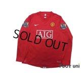 Manchester United 2007-2009 Home Long Sleeve Shirt #7 Ronaldo Champions Barclays Premier League Patch/Badge