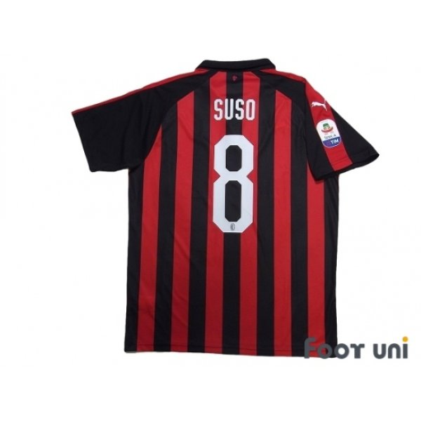 Photo2: AC Milan 2018-2019 Home Shirt #8 Suso Serie A Tim Patch/Badge