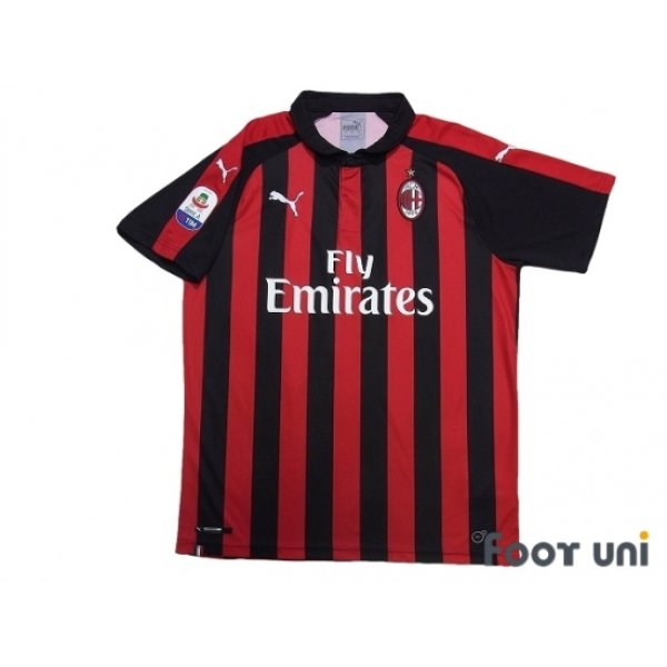 Photo1: AC Milan 2018-2019 Home Shirt #8 Suso Serie A Tim Patch/Badge