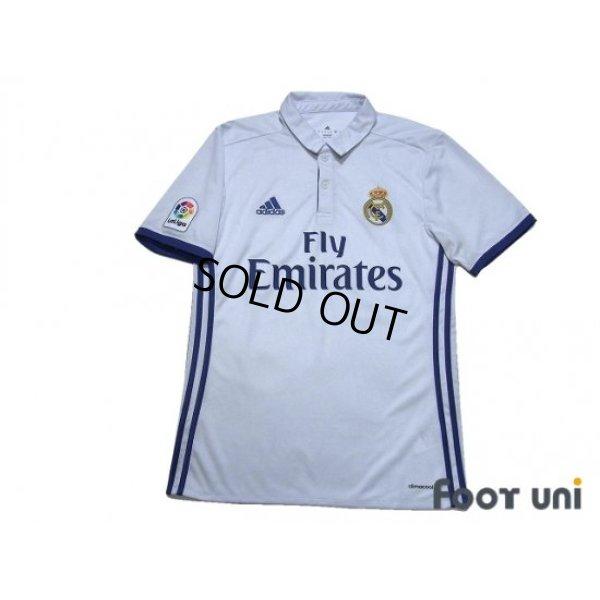Photo1: Real Madrid 2016-2017 Home Shirt #7 Ronaldo La Liga Patch/Badge