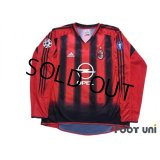 AC Milan 2004-2005 Home Long Sleeve Shirt Champions League Patch/Badge