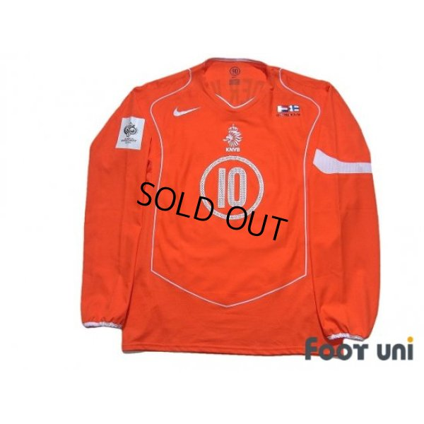 Photo1: Netherlands Euro 2004 Home Authentic Long Sleeve Shirt #10 Van der Vaart