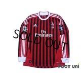 AC Milan 2011-2012 Home Long Sleeve Shirt Champions League Patch/Badge