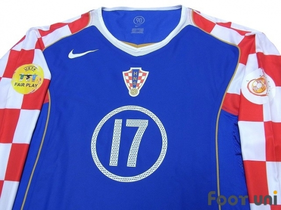 more photos bf2b3 dacd0 Croatia Euro 2004 Away Authentic Long Sleeve Shirt #17 ...